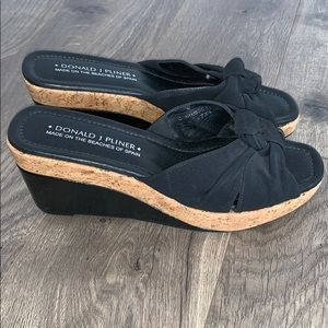 Donald Pliner Black Cork Wedge Platform Slides (9)